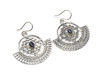 White Brass Sri Yantra Dangle and Drop with Lapis Lazuli Gemstone Tribal Earrings Ethnic Inspired Jewellery Free UK Delivery Gift Boxed WB67