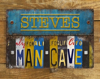 Personalised Metal Sign - Man Cave Vintage - Metal Wall Sign Plaque - Retro Car Number plates Large Aluminium Wall Hanging - 200mm x 300mm