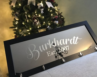 Custom Personalized Mirror Coat Rack, Mirror, Personalized Bar Mirror, Custom Engraved Mirror, Etched Bar Mirror, Custom Bar Mirror 12x36