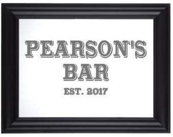 Custom Personalized Mirror, Large Mirror, Personalized Bar Mirror, Custom Engraved Mirror, Etched Bar Mirror, Custom Bar Mirror 20x24