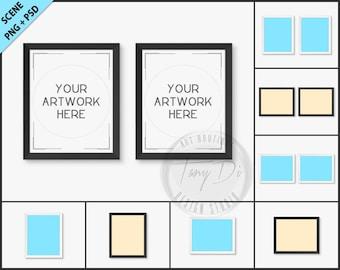 Set of 2 White & Black Frame Mockup | 8 PNG scene | 8x10 Empty Frame on White Wall Styled Mockup W18 | Portrait Landscape Frame
