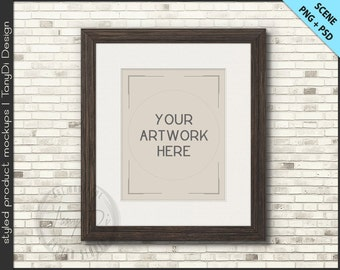 Light & Dark Wood Frame Mockup | 4 PNG scene |  8x10 Empty Frame on Brick Wall Styled Mockup W6 | Portrait Landscape Frame