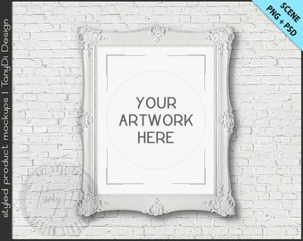 Old Ornate Portrait Frame Mockup | 4 PNG scene | 8x10 Empty Vertical Frame on White Brick Wall Styled Mockup W21 | White & Black Frame