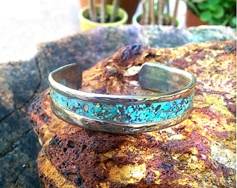 Hammered Titanium Cuff Bracelet.  Turquoisr Inlay.  2.8 X 15mm .  Thick and Wide. Polished.