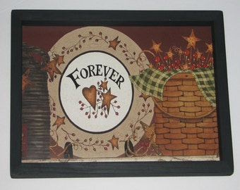 Forever Pottery Basket Berries Star Primitive Country Framed 9 inch x 13 inch wall decor