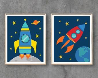 Rocket Printable Art, Space Rockets Digital Printables, Nursery Print Downloadable Art Poster Print, Baby Boy Room Decor / INSTANT DOWNLOAD