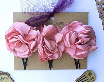 Pink rose flower Bobby Pins/Floral Accessories/Hair Pins/Bridal Hair/Bridesmaid Favors/Girls Flower Hair Clips