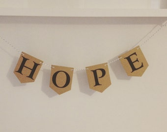 Handmade Bunting 'Hope' word