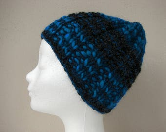 Hand knit hat black blue child warm comfortable winter hat kid knit in round thick and thin woolen acrylic chunky yarn lana grossa olympia