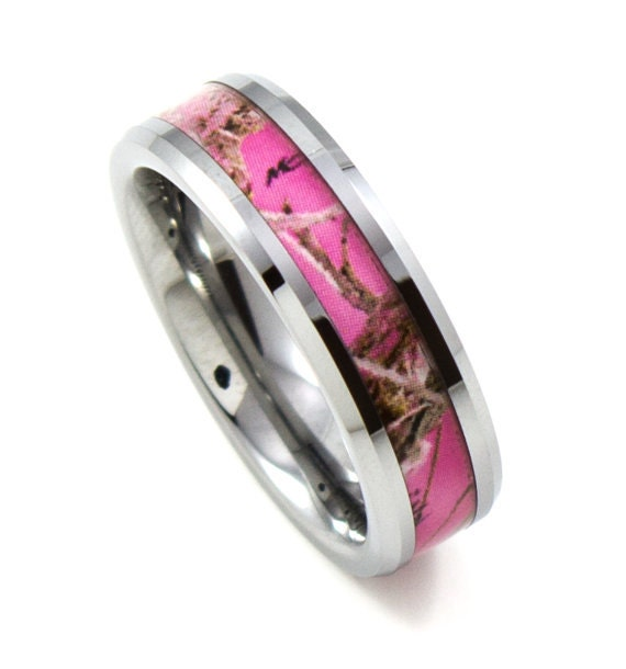 ladies pink camo thin 6mm tungsten band beveled edges promise ring anniversary - Pink Camo Wedding Ring