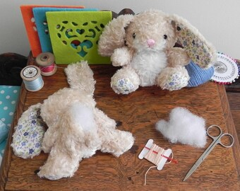 Kids sewing craft kit - beginners sew a bunny - small gift / easter gift