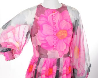 FREE US SHIPPING Vintage Pink Floral Pleated Chiffon Maxi Dress