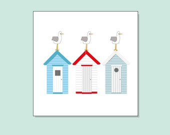 Beach huts Greeting Card by Katie Cheetham