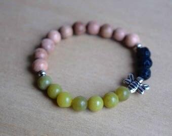 BEE LIVELY // Olive Jade Bracelet / Bee Bracelet / Save the Bees / Essential Oil Diffuser Bracelet / Yoga Bracelet / Meditation Bracelet
