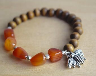 BEE CREATIVE // Carnelian Bracelet / Save the Bees / Yoga Bracelet / Meditation Bracelet / Charm Bracelet / Genuine Gemstone Bracelet
