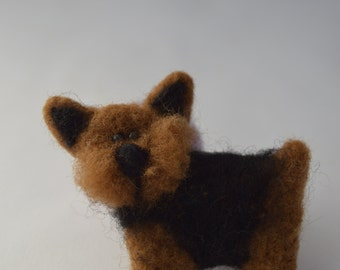 Felted brooch dog, yorkshire, puppy, felted puppy,  brooches, needle felting, needlefelt, handmade, sheep wool
