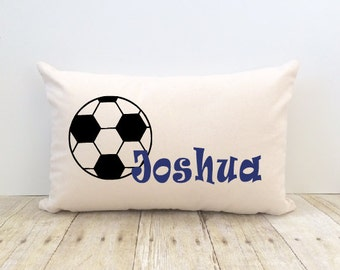 Personalized Custom Soccer Sports  Lumbar Pillow Cover for a Boy