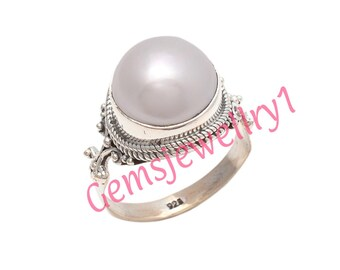 Pearl ring,Sterling silver ring,Handmade,gemstone ring,silver ring,fresh water pearl ring,solid silver US Size 5 6 7 8 9 10 11 12 13 14   14