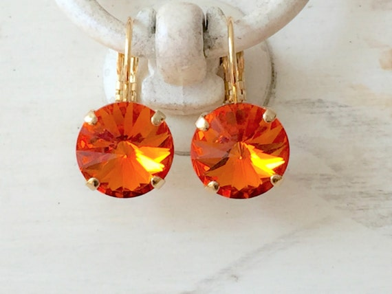 Orange Crystal Dangle Earrings, Swarovski Tangerine Earrings,  Tangerine Crystal Leverback Earrings, Swarovski Orange Crystal Earrings