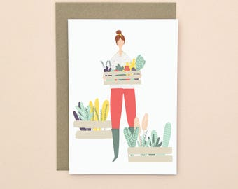 Illustrated Gardening Print Greetings Card