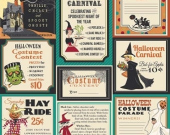 1 Yard Trick or Treat by Carta Bella for Penny Rose Fabrics- 5990 Teal