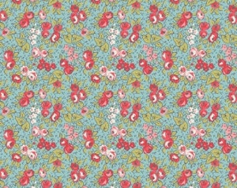 SALE!! 1/2 Yard Linen and Lawn by Sue Daley Designs for Penny Rose Fabrics- LW6341 Blue Floral