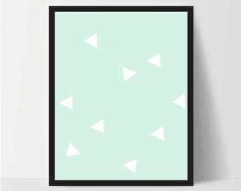 Triangle Wall Print, Mint Green White, Artwork, Home Decor, Modern Contemporary, Print Art, Instant Download, Boho, Nursery, Baby, Digital