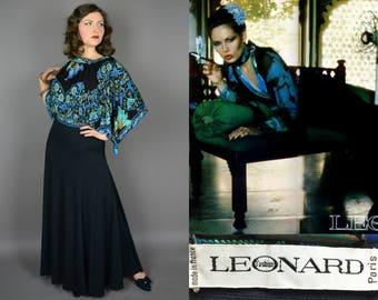 Iris || Vintage 70's Designer Leonard Paris Silk Jersey Evening Gown with Gorgeous Blue Floral Print Scarf Top Black Maxi Skirt || Small S