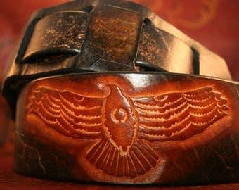 Leather Guitar Strap - Adjustable, hand tooled hawk - Handmade