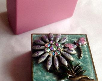 Flower Trinket Box Dragonfly Box Metal Trinket Box Jewellery Box Enamel Box Lilac Trinket Box Past Times Box British Made Oxford Trinket UK