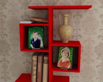 Red kids shelf-wall shelves