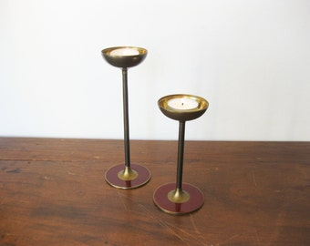 Brass Candleholders Vintage Set of 2 Matching Candleholders with Burgundy Red Enamel
