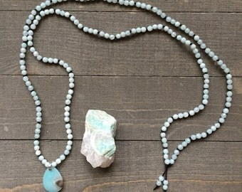 Amazonite (Spring Equinox) Hand Knotted Silk Thread Necklace