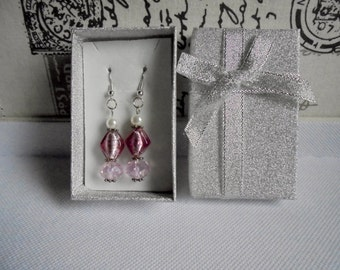 Baby pink dangling crystal earrings. Baby pink bling earrings. Glass pearl and Czech crystal dangling earrings for pierced ears. Gift idea.