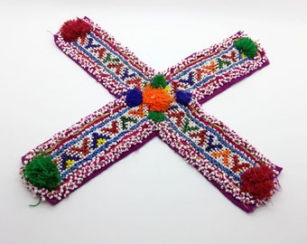 "Large Beaded Applique Textile Kuchi ""X"" Shape Remnant ATS Fusion Belly Dance"