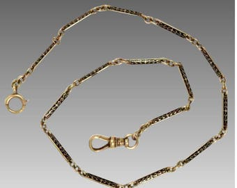 Deco Watch Chain 14k Gold and Black Enamel