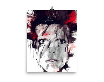 Unframed Poster Various Sizes: David Bowie Spatter Design