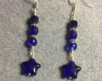 Translucent cobalt blue Czech glass star dangle earrings adorned with cobalt blue Czech glass beads.