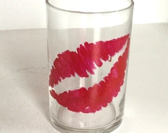 Hand Painted Votive Candle Holder - Kiss Glass Votive Holder - Valentines Day Candle Holder - Anniversary Candle Holder