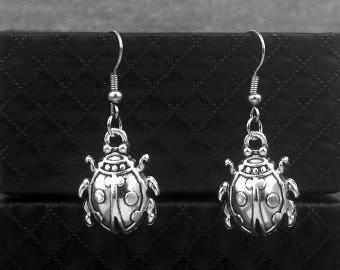 Silver Ladybird Earrings -Lady Beetle Earrings -Ladybug Earrings -Dangle Earrings -Coccinellidae Earrings
