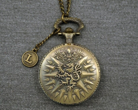 House Lannister Game of Thrones Pocket Watch Antique Bronze Animal Locket Fullmetal Alchemist Pocket Watch Pendant Watch Fob 46mm -P626