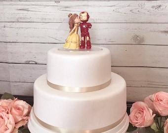 Belle Kissing Iron Man Cake Topper Wedding
