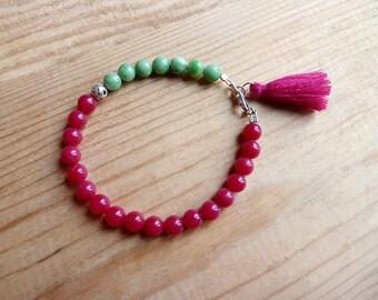 Bracelet green and fushia pink jade beads