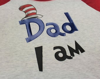 Dr Seuss Themed Family Shirts Mom,Dad,One I Am. Custom Vinyl in Next Level Apparel 3/4 Raglan Collection  XS-XXL