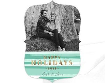 Happy Holidays Photo Card / Digital Holiday Card / Modern Photo Holiday Card / Custom Christmas Card / Printable Holiday Card / Mint Green