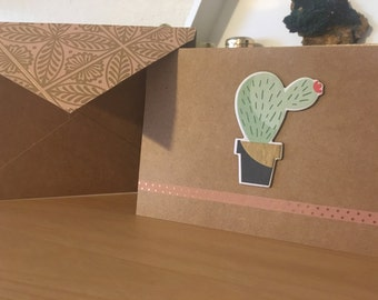 Handmade Raised Succulent and Button Detail Greeting Card