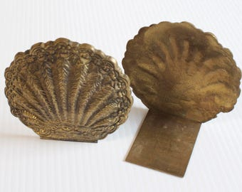 Vintage Brass Bookends - solid brass ornate shell shape bookends