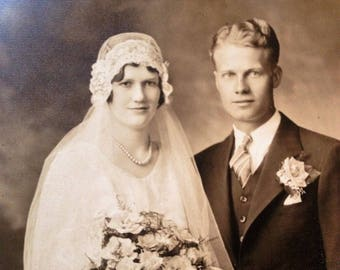 Antique Photograph Vintage Wedding Photograph Bride Groom 1920s Wisconsin