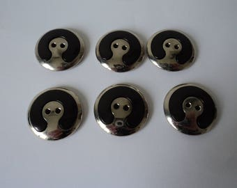 REDUCED - French vintage set of six black and silver craft buttons (04673)