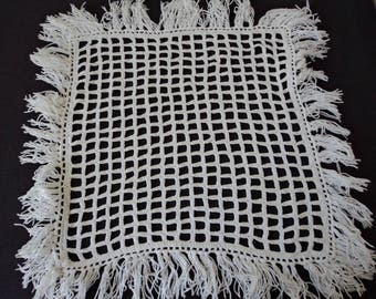 Vintage French hand crochet white cotton doily (04766)